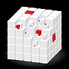 Vector clipart: White cube with red parts
