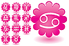 Vector clipart: Pink flowers as zodiac icons