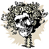 Vector clipart: Skull and roses