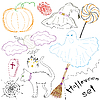 Set of Halloween sketches | Stock Vector Graphics
