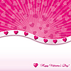 Pink valentine card with hearts