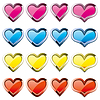 Vector clipart: Buttons-hearts