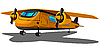 Vector clipart: Cartoon double engine airplane