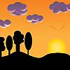 Vogelschwarm bei Sonnenuntergang