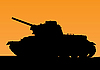 Vector clipart: tank silhouette on orange sunset