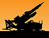 Vector clipart: sunset silhouette of rocket launcher
