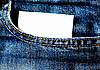 Photo 300 DPI: Jeans pocket with empty white card