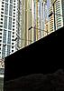 Photo 300 DPI: blank black billboard on the city street