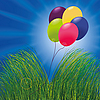 Balloons in the grass | Stock Illustration