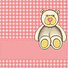 Bear for baby girl - baby arrival announcement  | Stock Illustration