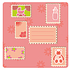 Photo 300 DPI: Card with stamps pink
