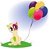 可爱的猫与气球 | 光栅插图