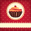 Cute retro card with cupcake | Stock Illustration