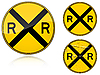 Variants Level crossing warning - road sign