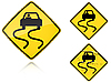 Vector clipart: Variants Slippery when wet - road sign