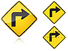 Vector clipart: Set of variants Right Sharp turn traffic road sign