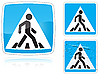 Vector clipart: Set of variants Crosswalk road sign