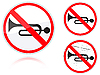 Vector clipart: Sound signals is forbidden road sign
