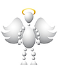Vector clipart: Man as saint angel with wings and golden nimbus