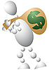 Vector clipart: Man carries bag of money