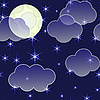 Vector clipart: night background with clouds and stars
