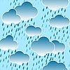 Vector clipart: Background with clouds and rain drops