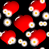 Vector clipart: Background with red glass hearts and flowers