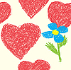 Vector clipart: Background with hearts as picture of kid