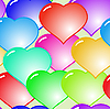Background with glass multicolor hearts