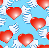 Vector clipart: Background of red hearts with wings
