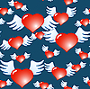 Vector clipart: Dark blue background of red hearts