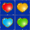 Vector clipart: background with glass multicolor hearts
