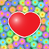 Vector clipart: Background with red hearts and flowers