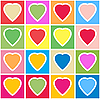Background with multicolor hearts on grid
