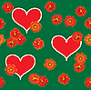 Vector clipart: Background with red hearts and orange flowers