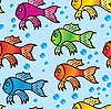 Vector clipart: background of multicolor fish.