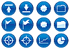 Vector clipart: Icons for gadget White - dark blue palette.