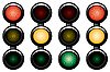 Vector clipart: 3-sections traffic-light.