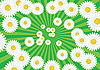 Vector clipart: green rays background with white flowers
