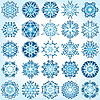 Vector clipart: Set of 25 six-rays crystal gradient snowflakes