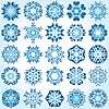 Vector clipart: Set of 25 six-rays crystal gradient snowflakes.