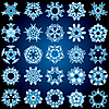 Vector clipart: Set of 25 five-rays crystal gradient snowflakes.