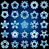 Vector clipart: Set of 25 five-rays crystal gradient snowflakes