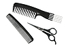 Photo 300 DPI: Two black professional combs and scissors
