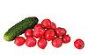 Photo 300 DPI: green cucumber and red radish