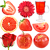 Фото 300 DPI: Набор красных фруктов, овощей и цветов
