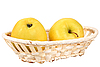 Two yellow apples in basket | Stock Foto