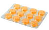 Photo 300 DPI: Orange pills in metallic blister