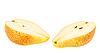 Dos rebanadas rojo-amarillas de pera | Foto de stock