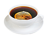 Photo 300 DPI: Cup of tea with slice of lemon